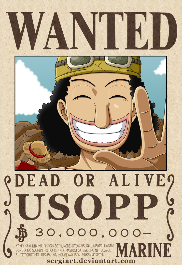 one piece usopp wanted poster by sergiart on deviantart. Black Bedroom Furniture Sets. Home Design Ideas