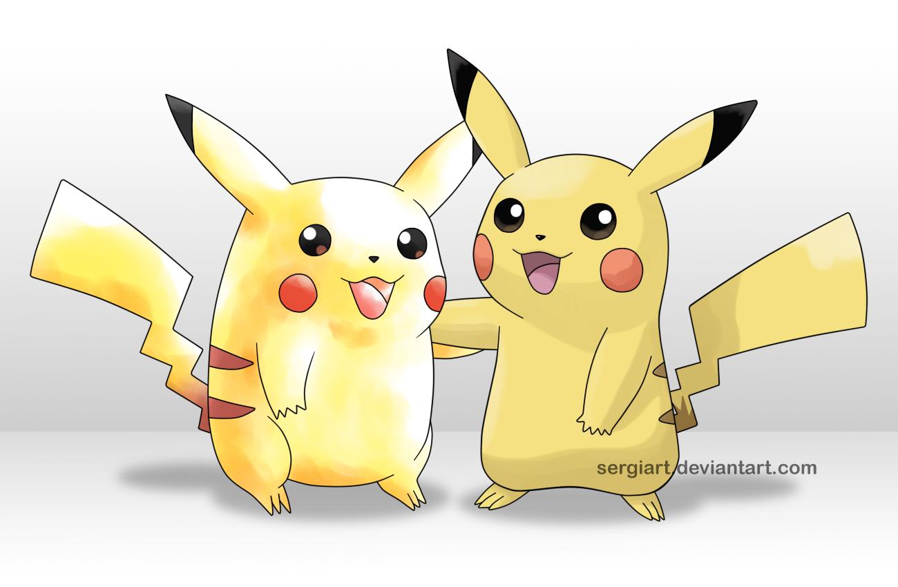 artwork de pikachu design bleu rouge première generation et pikachu actuel