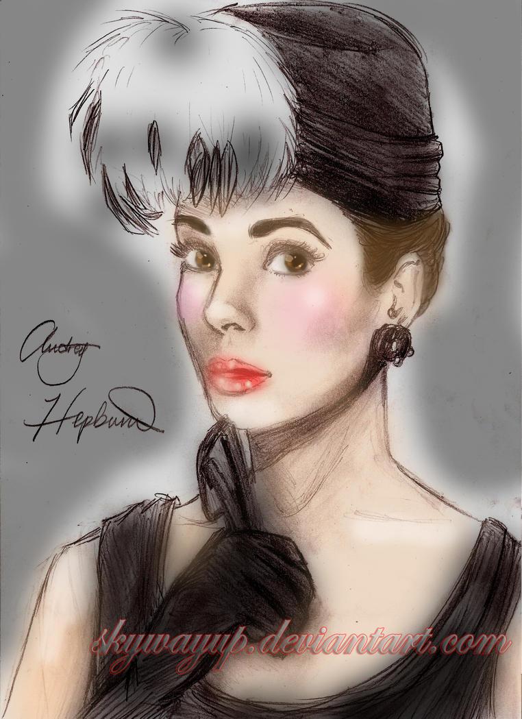Audrey Hepburn Colored Sketch By Skywayup On Deviantart