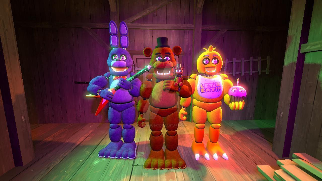FNaF SFM Bonnie, Freddy and Chica by DarkVirus87