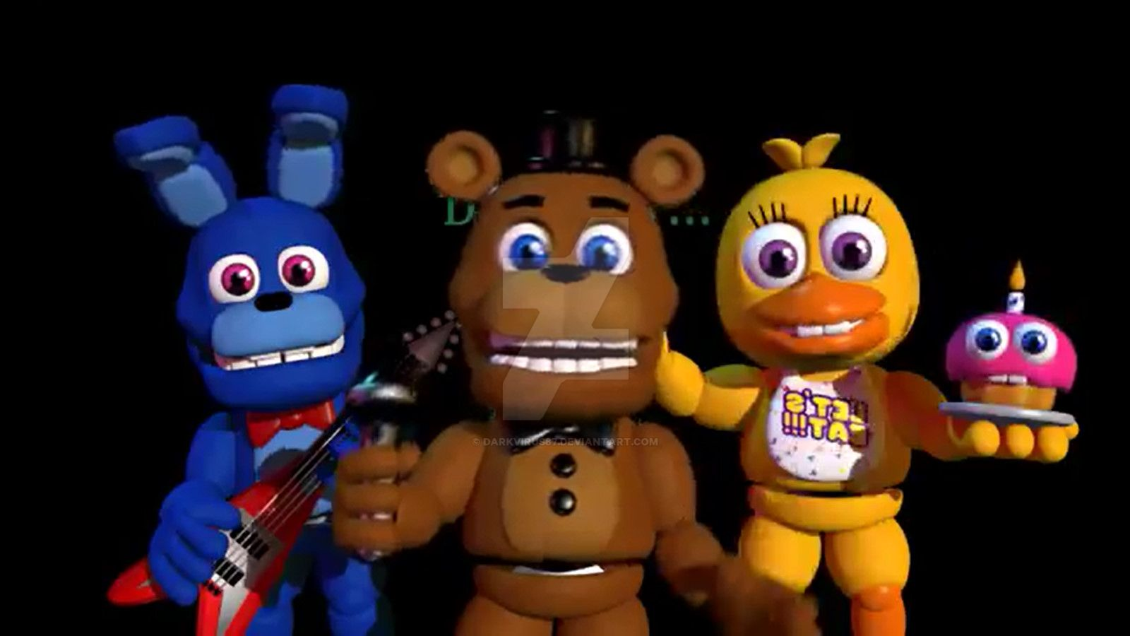 (FNaF World Trailer) Bonnie, Freddy and Chica by DarkVirus87