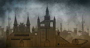 Medieval City Concept Sketch by sketchypages