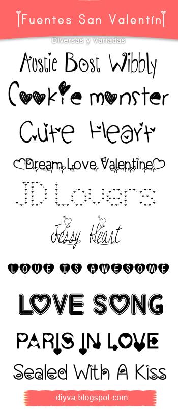 Valentine's Day Fonts (Pack fuentes San Valentin) by DiyVa-Jessica