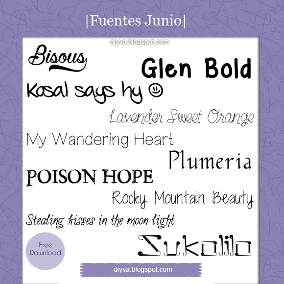 June Fonts (Pack fuentes Junio) by DiyVa-Jessica