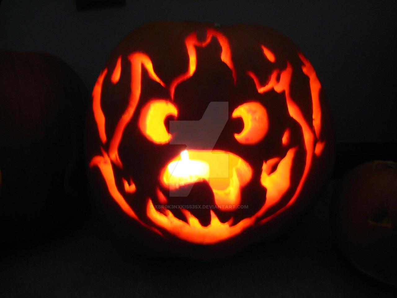 Calcifer Pumpkin by xbr0k3nxkiss3sx on DeviantArt