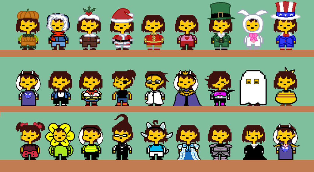 Frisk's Different Outfits