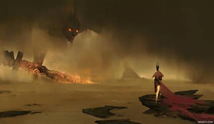 Hero vs Desert Guardian by artursadlos