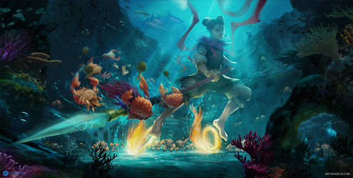 Nezha fighting crab soldiers by artursadlos