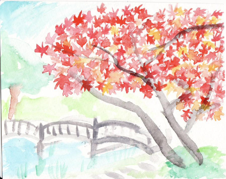 Japanese maple watercolor by the-pirate-heart
