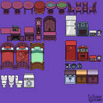 Sprite and pixel art of objects, furniture by LebbitBunny