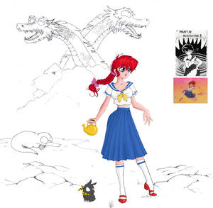 Ranma dressup school outfit with eight head dragon