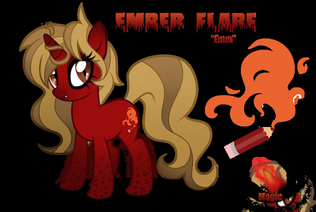 Ember Flare Ponysona by LugiaAngel
