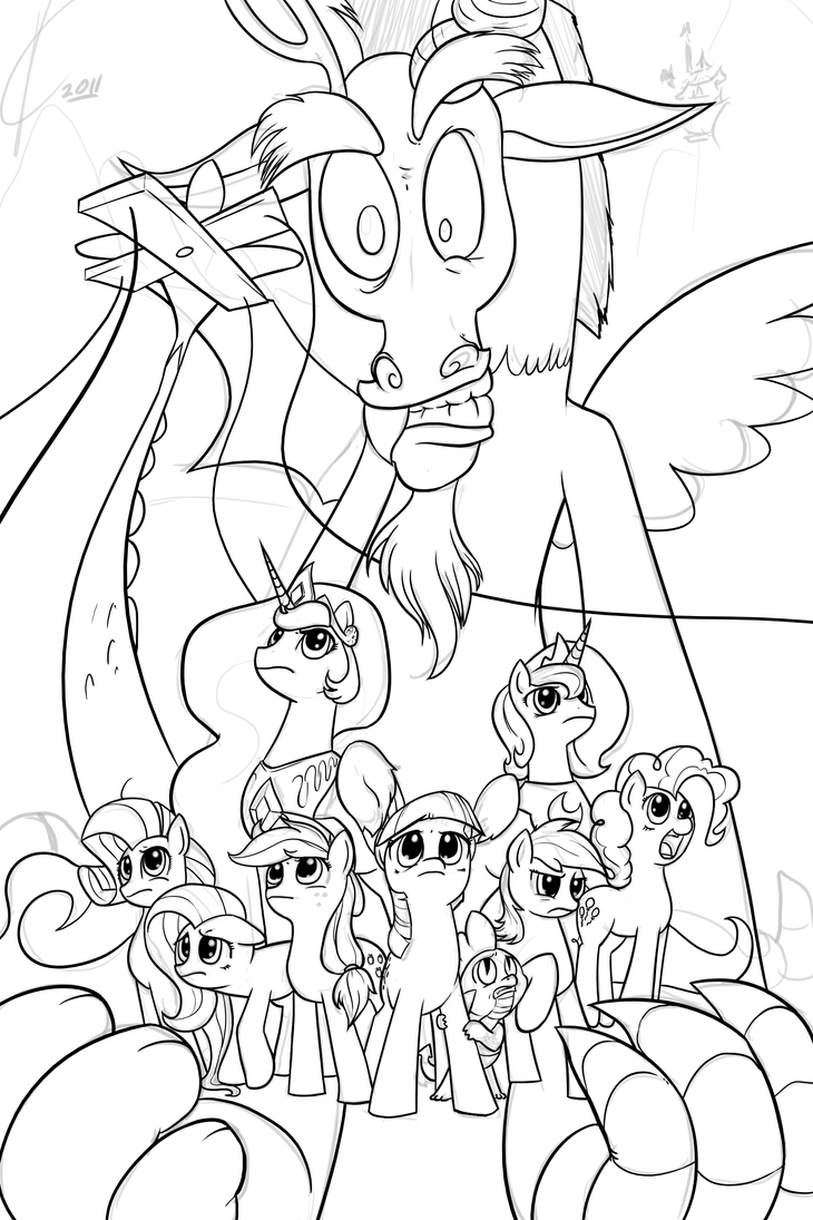 My Little Pony Discord Coloring Pages : Wip inks discord by dreatos on deviantart