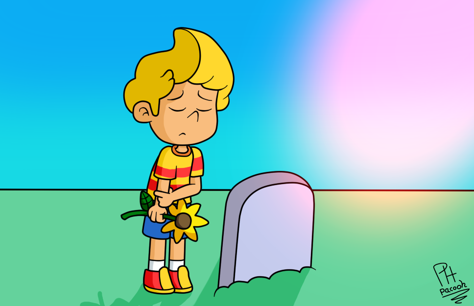 Lucas at Hinawa's grave by Pacooh