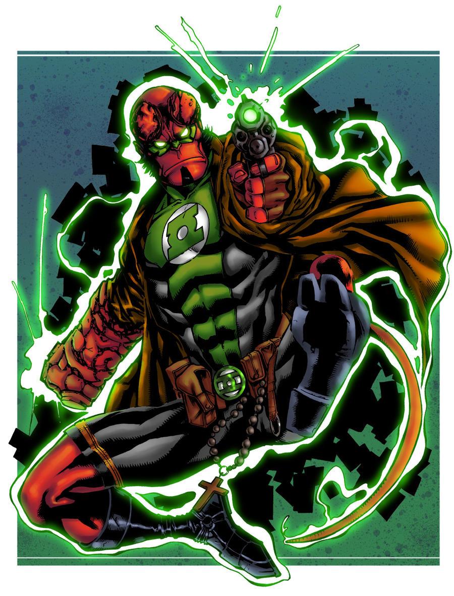 hellboy green lantern by adagadegelo