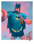 Hellboy with Batman's costume
