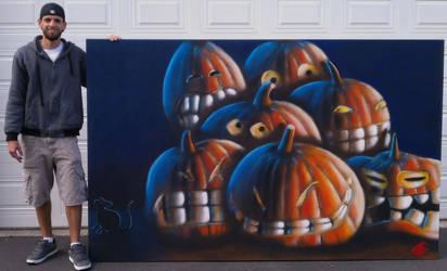 Pumpkins in spray paint by Jimbosart8
