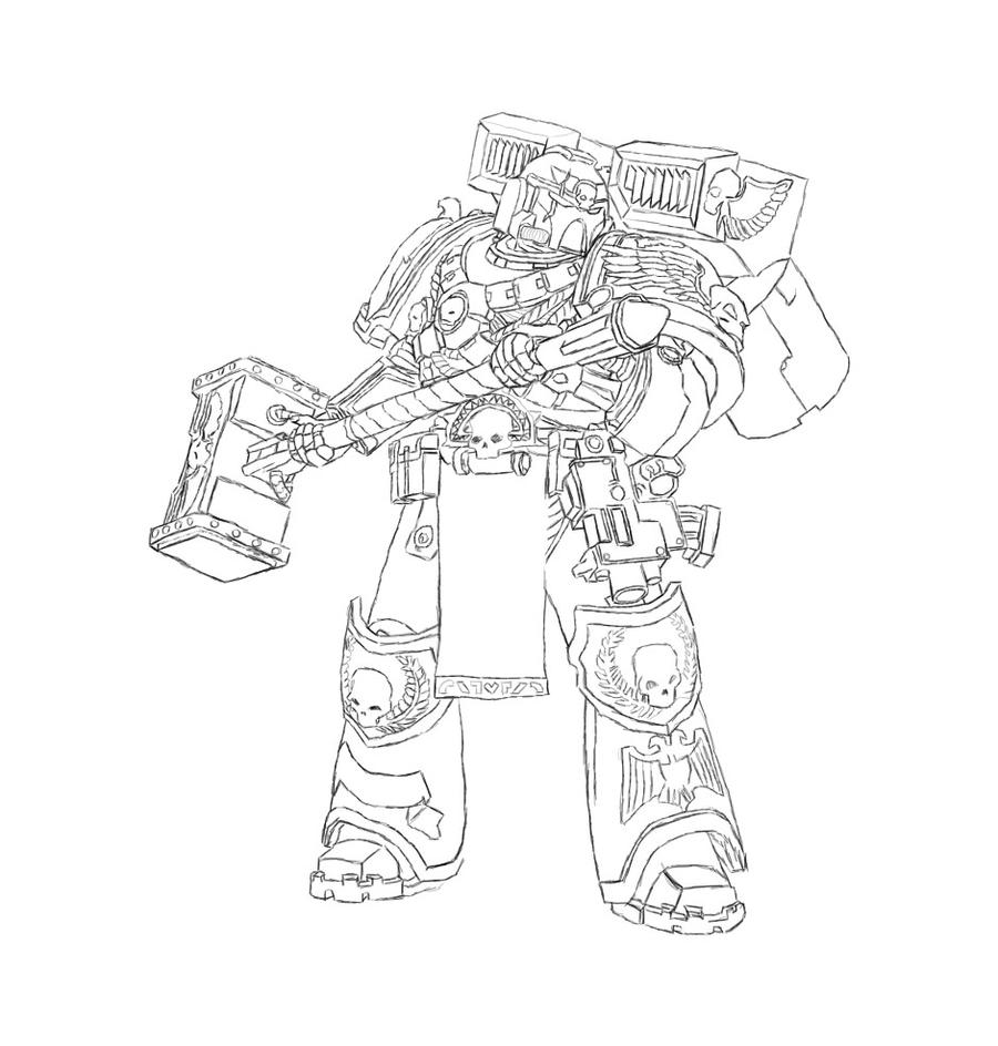 How to draw spacemarine