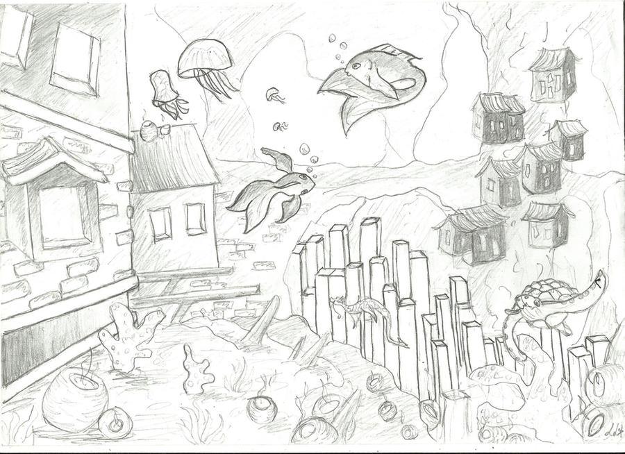 Line Art Underwater : Underwater city by pommesama on deviantart