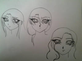 female character different hair styles study