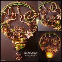 Unique bird suncatcher / candle holder by illustrisdesigns