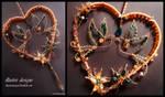 Heart suncatcher with birds and swarovski crystal