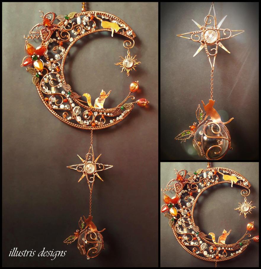 Crescent moon and cats suncatcher by illustrisdesigns