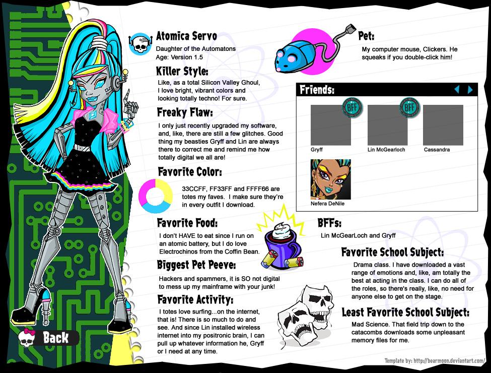Atomica Servo bio page by BabyDollLJ