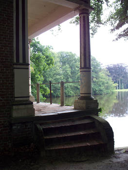 little building at pond