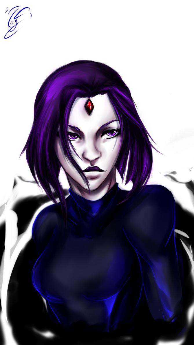 Raven portrait by MegS-ILS