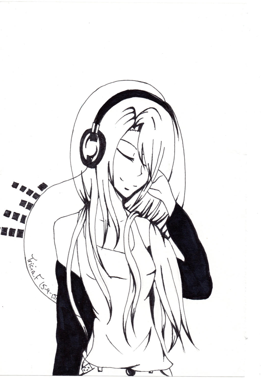 Line Art Headphones : Headphone anime girl by triciacreations on deviantart