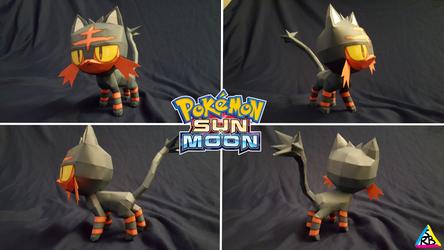 Pokemon Sun and Moon Papercraft: Litten V2 by SuperRetroBro