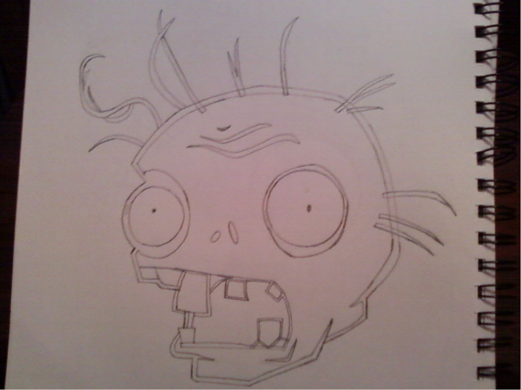 Zombie Face Line Drawing : Plants vs zombies zombie head sketch no shading by