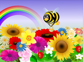 Tux with flowers - 1024x768 by juhele