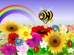 Tux with flowers - 1024x768