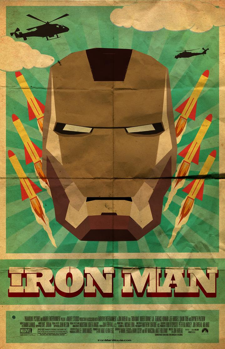 retro iron man movie poster by skemed on deviantart