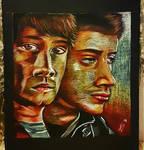 Sam and Dean - Black paper portrait. by Laurenthebumblebee