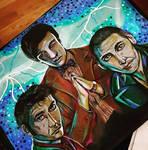 Nine, Ten + Eleven (Doctor Who) Traditional study by Laurenthebumblebee