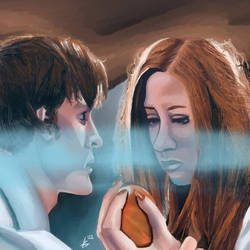 Eleven And Amy Pond - Digital Oil Painting by Laurenthebumblebee