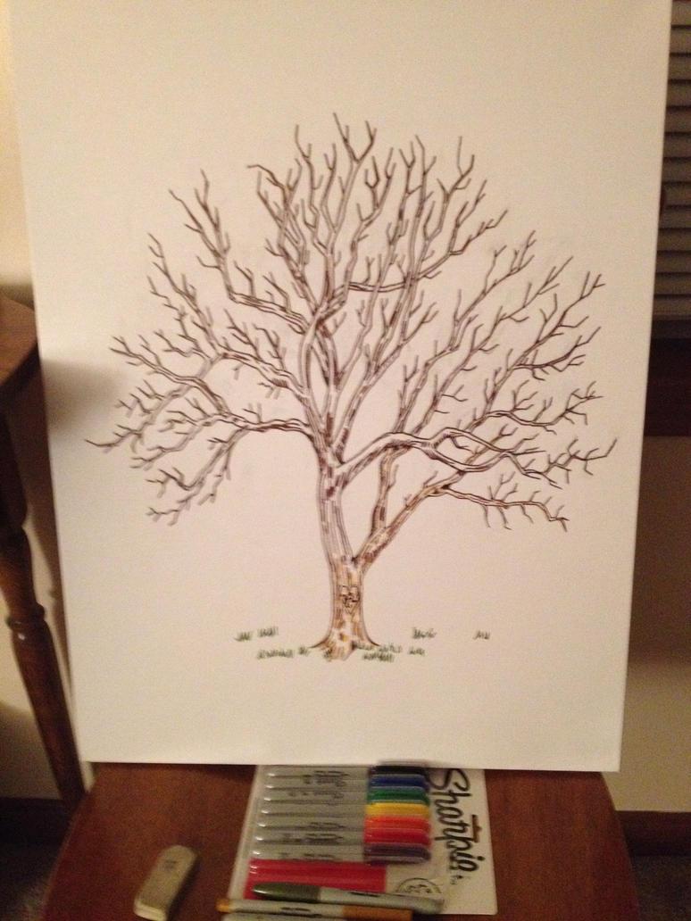 Guest Book Fingerprint Tree by jofflin