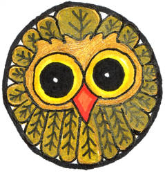 Tiny Gold Owl Round