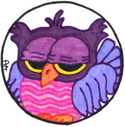 Sleepy Purple Owl Round