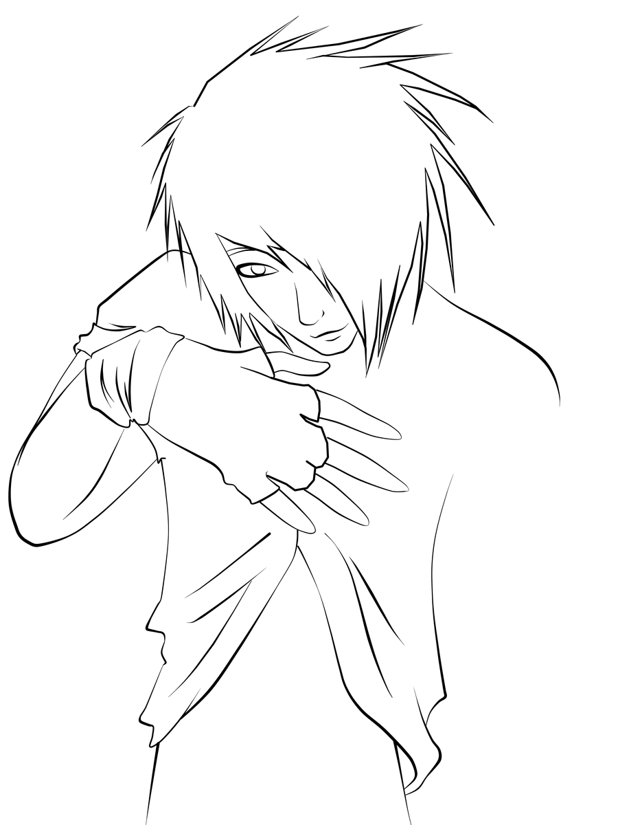 emo anime coloring pages - emo guy lineart by cookiimii on deviantart