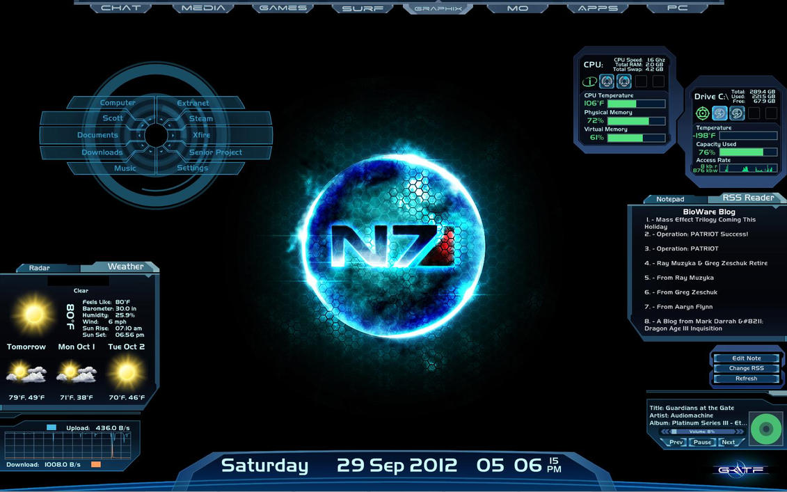 Desktop rainmeter n7 by guardianoftheforce on deviantart for Bureau windows 7 rainmeter
