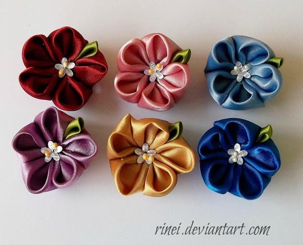 Kanzashi Flower by rinei on DeviantArt