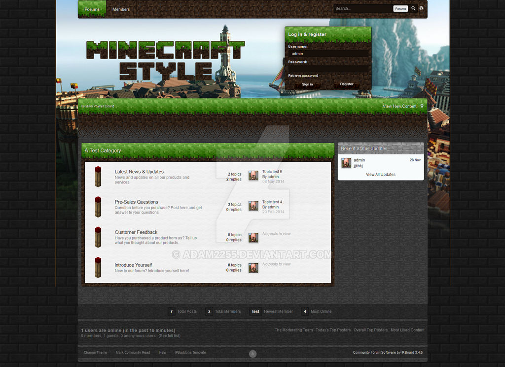 Minecraft theme for IPB 3 4 by adam2255 on DeviantArt
