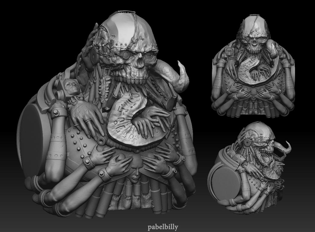 slaanesh demon prince head with torso 3d by PabelBilly