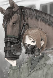 War horse and gas mask