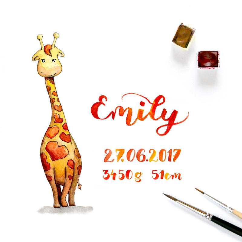 Giraffe - a special gift for a newborn by BunteGalerie