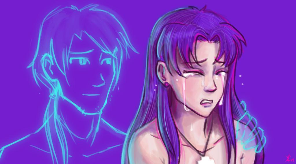 Evangelion - Misato and Kaji - Loss Lingers by Kamiruchan015